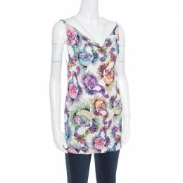 Just Cavalli Multicolor Shell Printed Jersey Cowl Neck Sleeveless Top M 170213