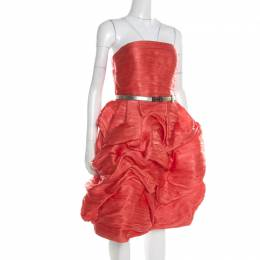 Oscar De La Renta Orange Ruffled Silk Blend Belted Strapless Dress M 195805