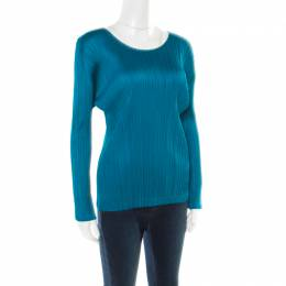 Pleats Please By Issey Miyake Emerald Green Micro Pleated Long Sleeve Top XS 178087