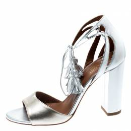 Malone Souliers Metallic Silver/Gold Leather Gladys Ankle Tassel Wrap Open Toe Sandals Size 37 195445