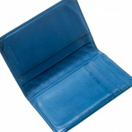 Bottega Veneta Blue Intrecciato Leather Bifold Card Case 196095