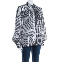 Just Cavalli Metallic Black and White Silk and Lurex Animal Print Shirt M 197091