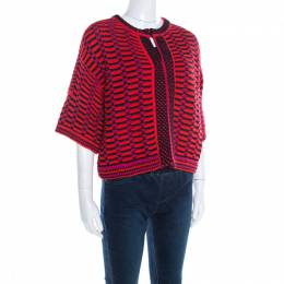 M Missoni Multicolor Textured Chunky Knit Cropped Cardigan M 197095