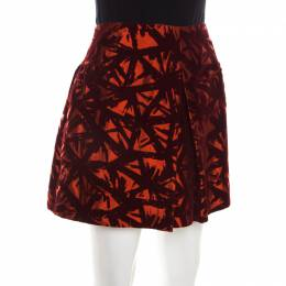Victoria Beckham Orange and Burgundy Velvet Burnout Mini Skirt M 198473