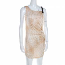 Roberto Cavalli Class Beige Snakeskin Printed Leather Trim Ruched Fitted Dress M 199103