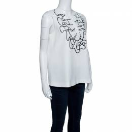 Boutique Moschino Off White Ruffle Print Sleeveless Top M 143533