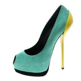 Giuseppe Zanotti Design Two Tone Suede Peep Toe Platform Pumps Size 36 143742