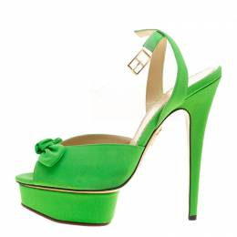 Charlotte Olympia Gren Satin Serena Bow Ankle Strap Platform Sandals Size 40 136133