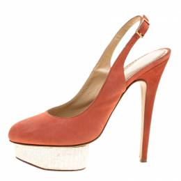 Charlotte Olympia Red Suede Dolly Slingback Platform Pumps Size 40 136124