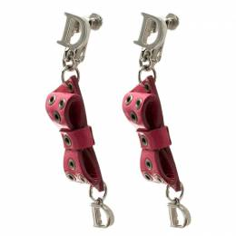 Dior Pink Bow Patent Leather Drop Earrings