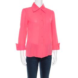 Alice + Olivia Neon Pink Silk Long Sleeve Shirt XS 180572