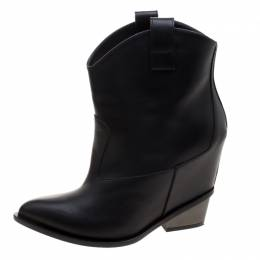 Giuseppe Zanotti Design Black Leather Pointed Toe Boots Size 41 121239