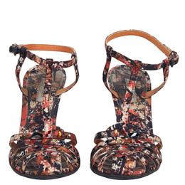 Bottega Veneta Corniola Topaz Pollock Print Silk Sandals Size 35 78256