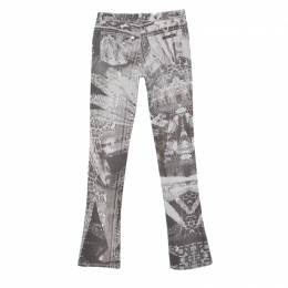 Roberto Cavalli Multicolor Floral and Paisley Print Flared Bottom Distressed Jeans S 148096