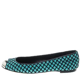 Giuseppe Zanotti Design Green/Black Suede and Fabric Cap Toe Ballet Flats Size 38 149576