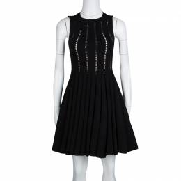 Alaia Black Cutout Detail Knit Sleeveless Fit and Flare Dress S 132769