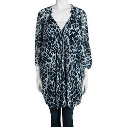 Diane Von Furstenberg Snow Cheetah Printed Silk Fleurette Kaftan Tunic M 97783