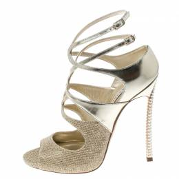 Casadei Metallic Gold and Lamè Fabric Ankle Strap Peep Toe Sandals Size 36 157668