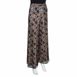 Alice + Olivia Black Lace Overlay High Waisted Wide Leg Trousers S 157013
