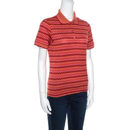 Missoni Burnt Orange Chevron Pattern Jacquard Knit Polo T-Shirt M 157350