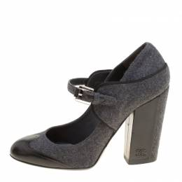 Chanel Grey/Black Wool Blend and Leather Cap Toe Mary Jane Block Heel Pumps Size 40