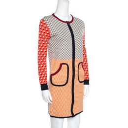 Tory Burch Multicolor Cotton Zip Front Sweater Dress M 157028