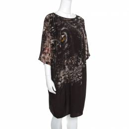 Max Mara Black Owl Printed Silk Oversized Bianca Dress L 156608