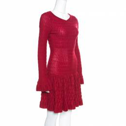 Alaia Red Chenille Wool Patterned Long Sleeve Skater Dress M 155373