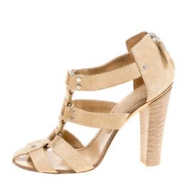 Casadei Beige Suede Gladiator Block Heel Sandals Size 38