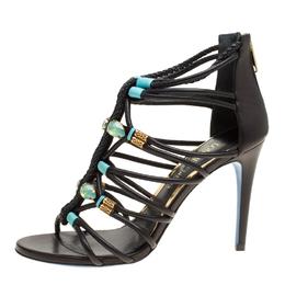 Loriblu Bijoux Black Leather Crystal Embellished Strappy Sandals Size 38 153602