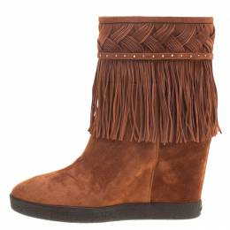 Le Silla Brown Suede Concealed Fringed Wedge Boots Size 36 153773