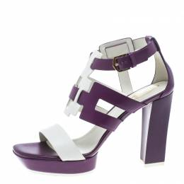 Tod's Purple and White Leather Cutout Platform Sandals Size 40 152431