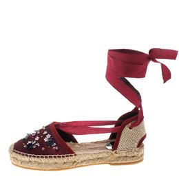 Oscar De La Renta Burgundy Satin Adriana Embellished Flat Espadrilles Size 41 152423