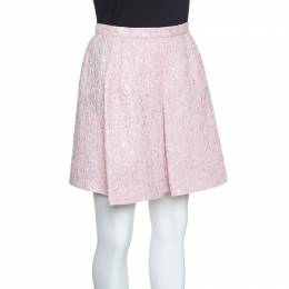Giambattista Valli Pink Floral Embossed Jacquard Inverted Pleat Mini Skirt M 154175