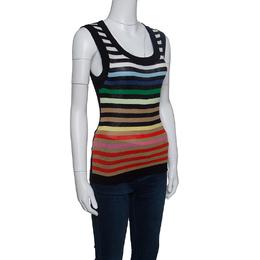 Sonia Rykiel Rainbow Striped Silk and Cotton Knit Sleeveless Tank Top S 151668
