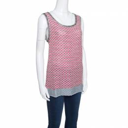 M Missoni Multicolor Patterned Lurex Knit Sleeveless Top L 153577