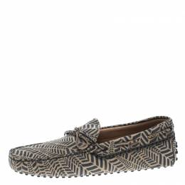 Tod's Beige and Grey Printed Leather Bow Loafers Size 42.5 152484