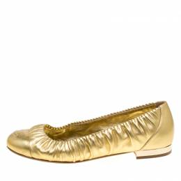 Chanel Metallic Gold Ruched Trim CC Ballet Flats Size 38 153389