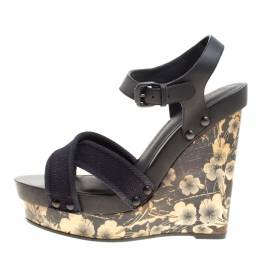 Bottega Veneta Black Leather and Canvas Floral Printed Wooden Wedge Cross Strap Sandals Size 40.5 150556