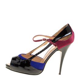 Giuseppe Zanotti Design Black Patent Leather Ankle Strap Peep Toe Platform Sandals Size 39.5 148095