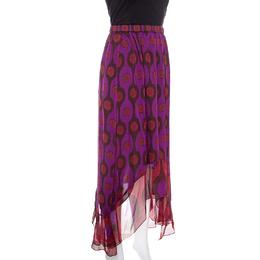 Diane Von Furstenberg Purple Printed Silk Asymmetric Louella Skirt M 150572