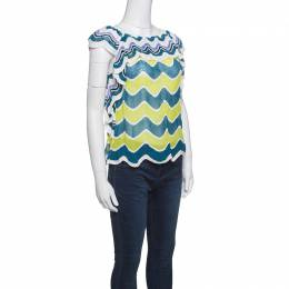 M Missoni Multicolor Wave Pattern Perforated Knit Ruffle Trim Top S 147821