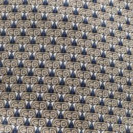 Dior Beige and Blue CD Printed Silk Traditional Tie 142936