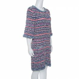 Chanel Multicolor Textured Knit Short Sleeve Dress M 142730