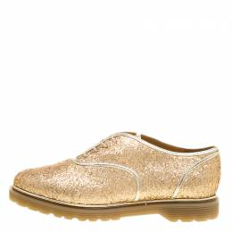 Charlotte Olympia Metallic Dull Gold Glitter Stefania Oxfords Size 39 139153
