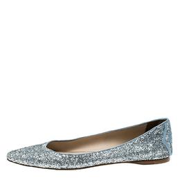 Bottega Veneta Metallic Silver Glitter Intrecciato Leather Trim Pointed Toe Ballet Flats Size 39
