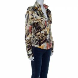 Roberto Cavalli Class Floral Printed Stretch Silk Satin Button Front Shirt  M 142655