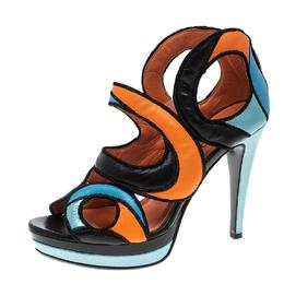 Loriblu Multicolor Cut Out Leather Platform Sandals Size 36 140163