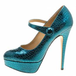 Charlotte Olympia Metallic Blue Croc Embossed Leather Page Mary Jane Platform Pumps Size 39 139398