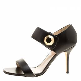 Christopher Kane Black Leather Metal Detail Sandals Size 40 134428